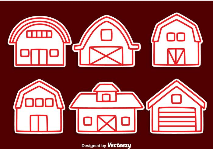 Red Barn Line Vector