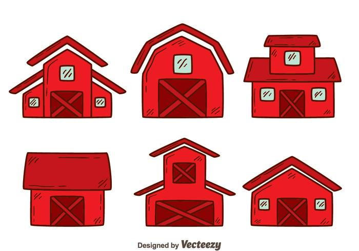 Hand Drawn Red Barn Vector