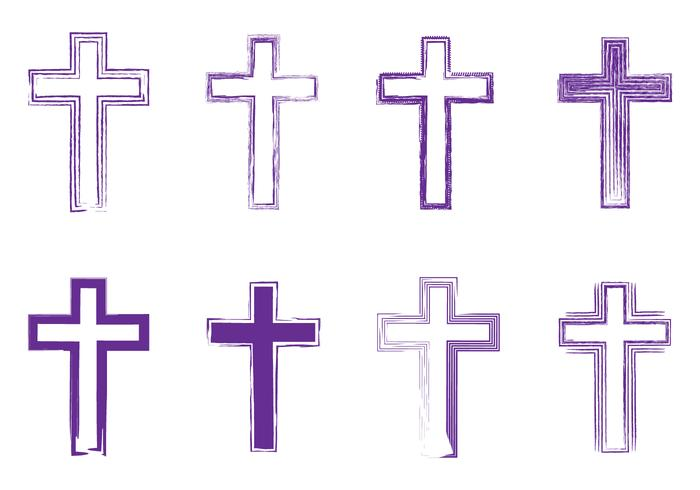 Abstract Artistic Lineart Lent Crosses vector