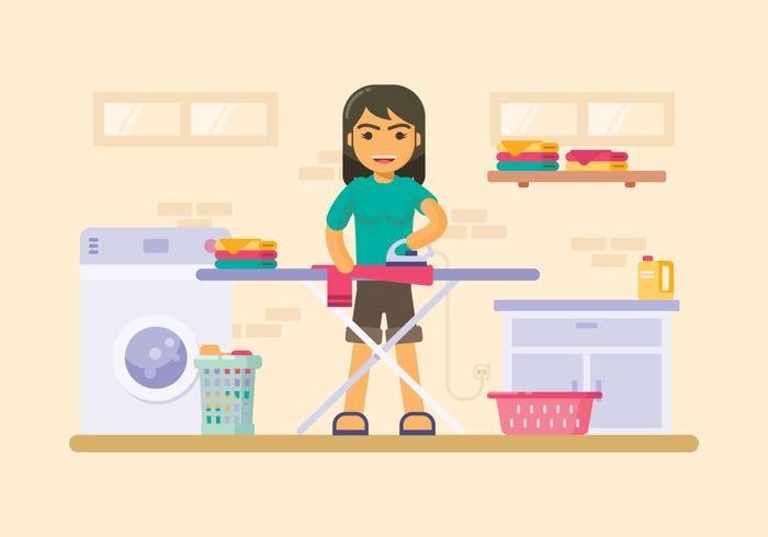 Laundry Room With Ironing Board Illustration