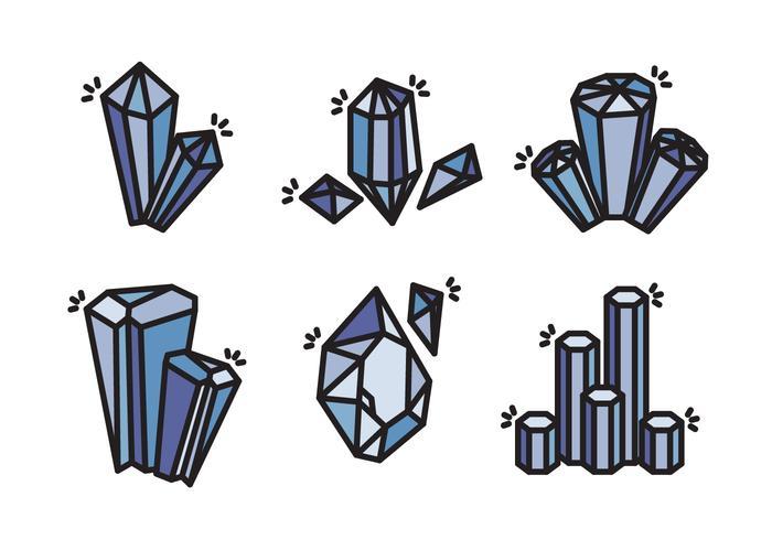 Coleção de ícones vetoriais de pedra de cristal de quartzo