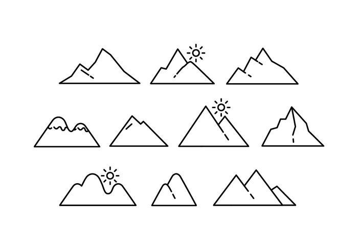 Libres Montaña Línea Icono Vector