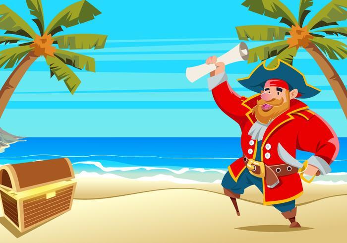 Piraat op het Strand Vector