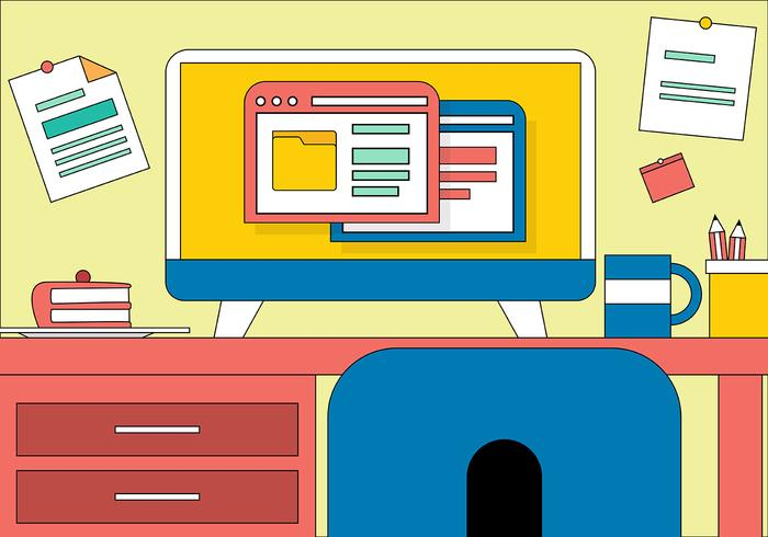 Free Flat Vector Designers Desk Illustration