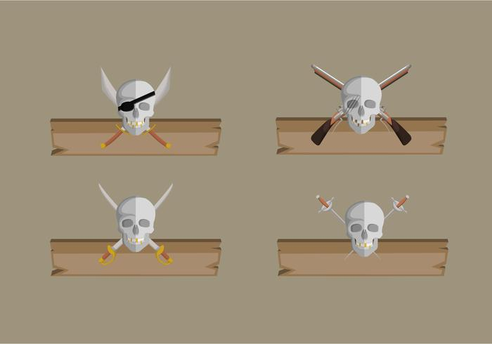 Pirate Banner With Wooden Board Vector Collection