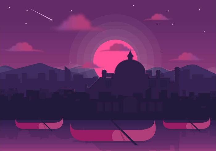Kerala Sunset Vector Background