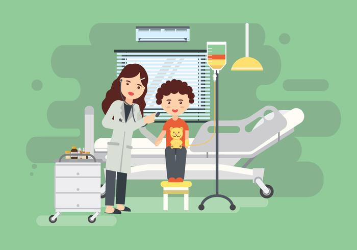 Woman Pediatrician At Clinic Room Vector Illustration