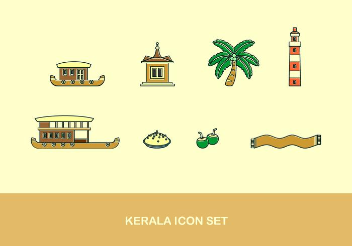 Kerala Icon Set Gratis Vector