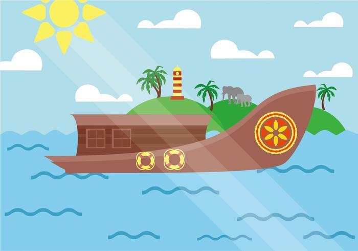 Gratis Traditionele Kerala Boot Scène Vector