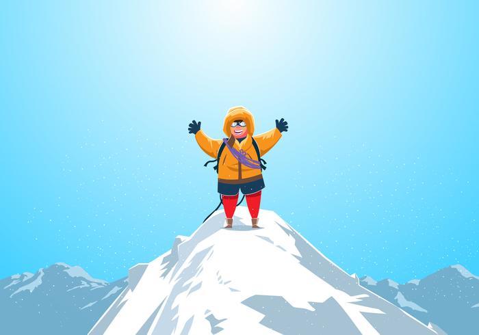 Climber At The Top Of Matterhorn Vector