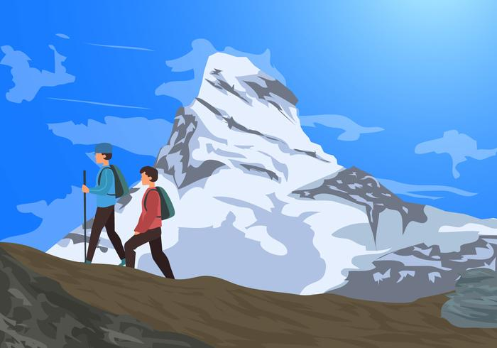Alps Matterhorn Mountains With Hikers Vector