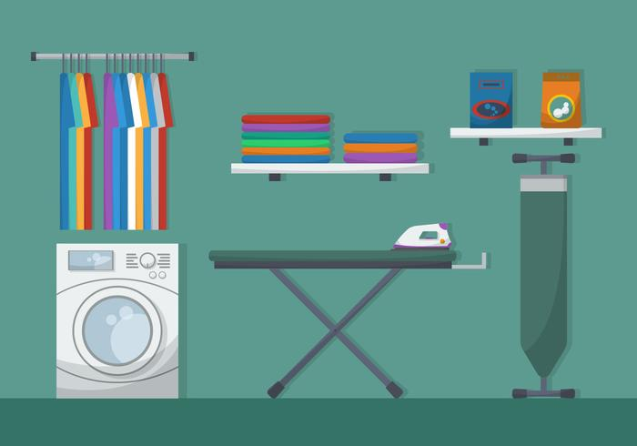 Ironing Board With Laundry Vector Illustration