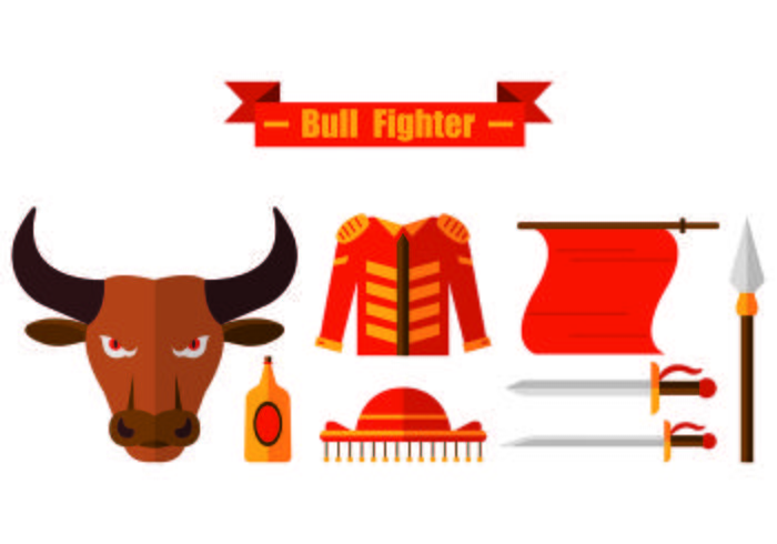 Set Of Bull Fighter Icons