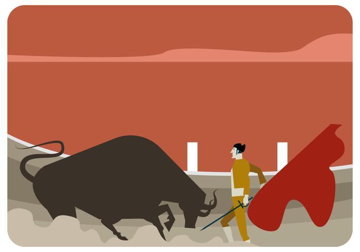 Bull Fighter Illustration Vector