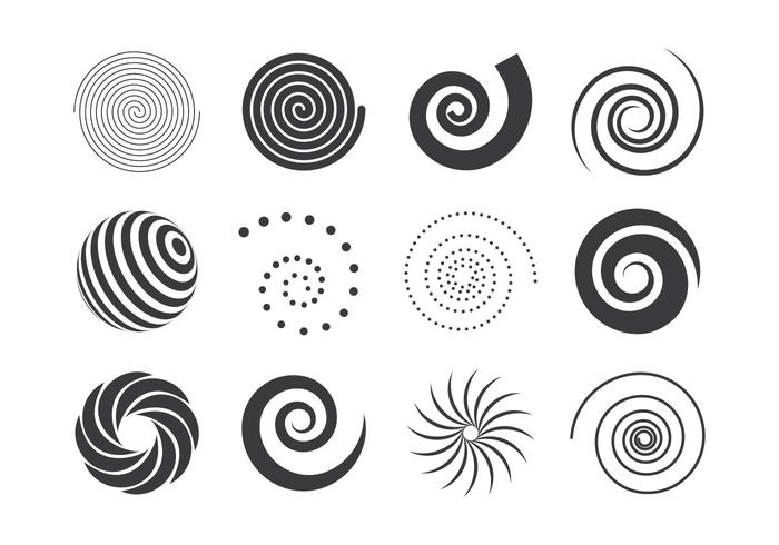 Collection Of Black And White Spiral Elements