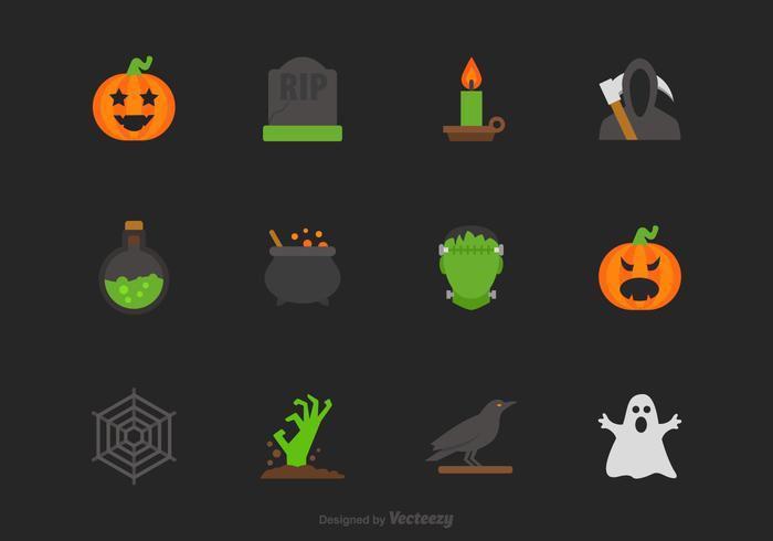 Halloween vector plat pictogram set