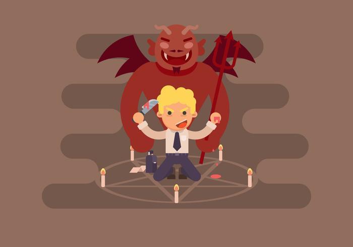 Uomo d'affari con demone vettore