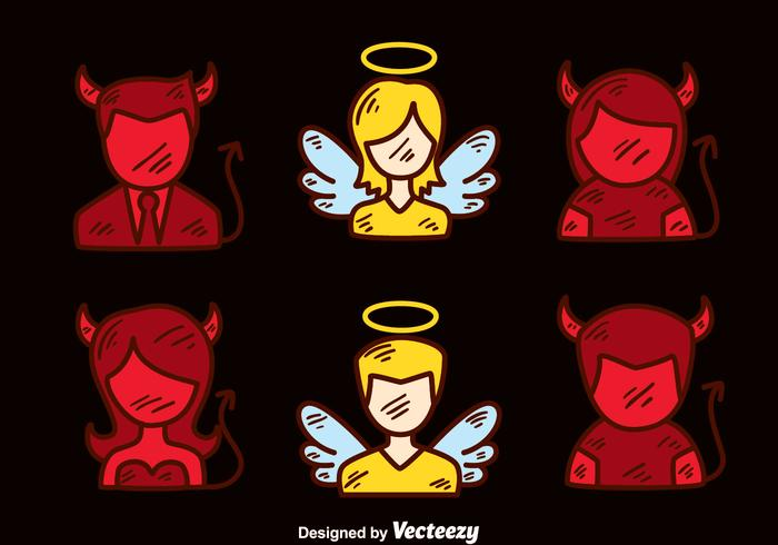 Angel And Devil Hand Drawn Vector