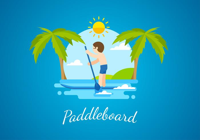 Paddleboard platte vrije vector