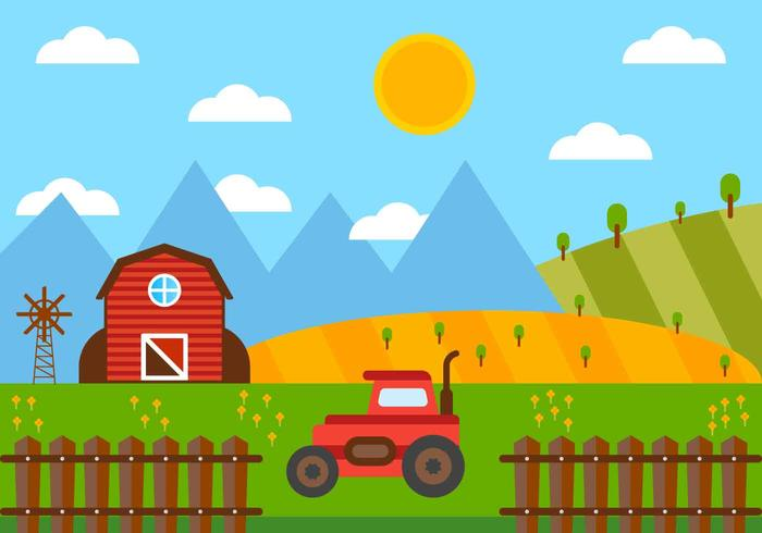 Free Beautiful Red Barn Vector