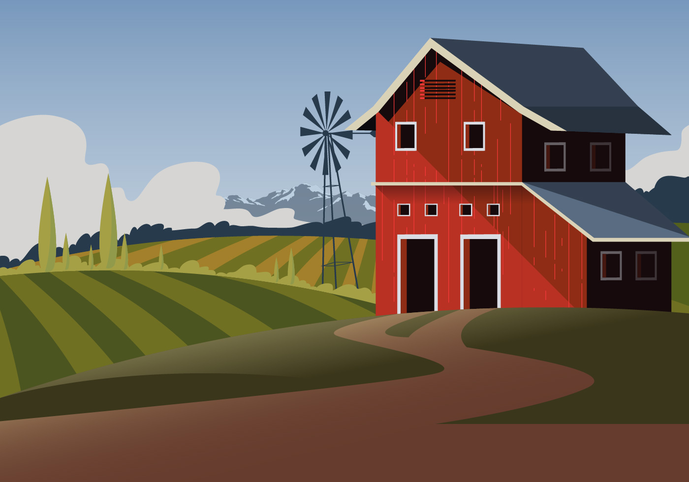 Red Barn Vector Scene - Download Free Vectors, Clipart ...