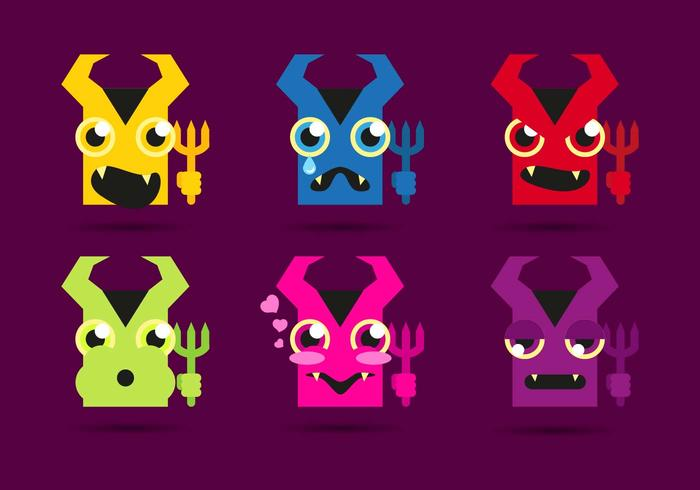 Lucifer duivels emojis emoticons vector