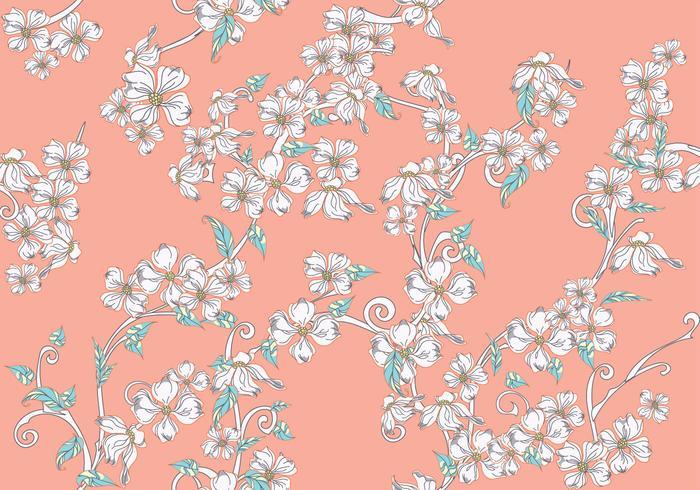 Dogwood Flowers Seamless Pattern on Pink Background