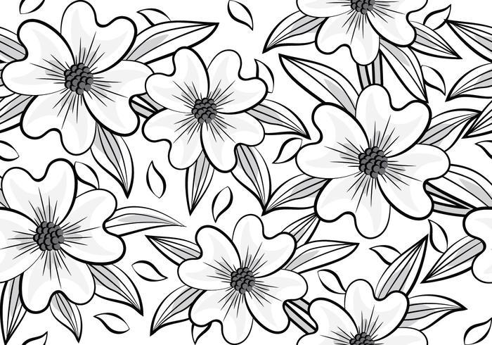 timeless design d3e43 48b3f Flower Pattern. Flower Pattern. Edit Vector. Dogwood flower pattern -- black  and white Ellipsis