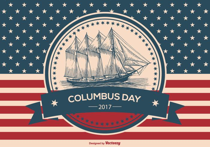 Vintage Style Columbus Day Illustration