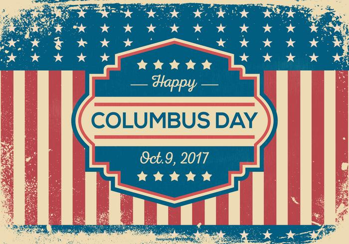 Vintage Grunge Style Columbus Day Illustration