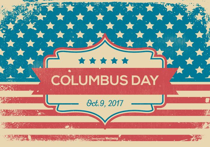 Retro Grunge Style Columbus Day Illustratie