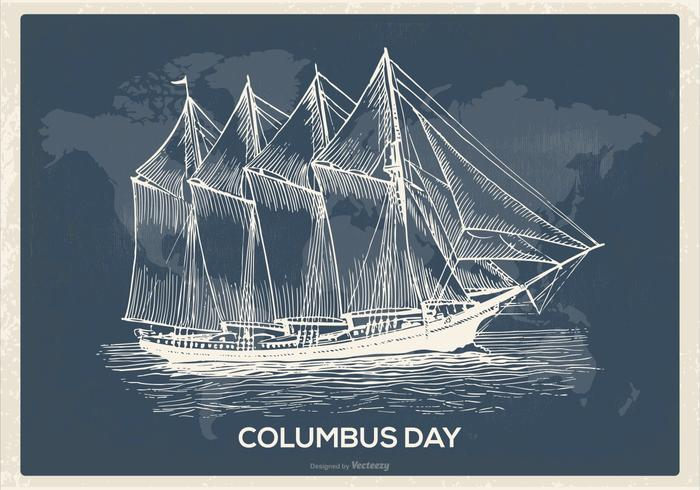 Retro Columbus Day Illustration