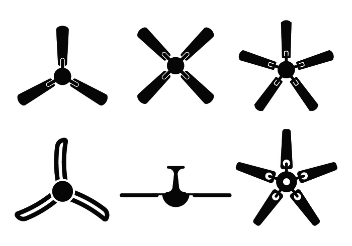 Ceiling Fan Silhouette Vector Van Bottom View