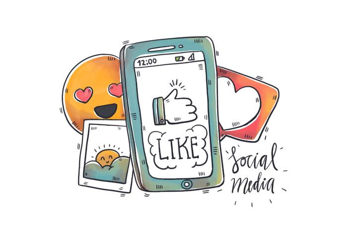 Aquarell Social Media Elements und Telefon