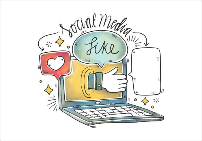 Aquarell Illustration von Laptop, Facebook, Sprechblase und Social Media