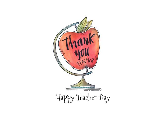 Watercolor Apple Globe With Lettering Thank You Teacher
