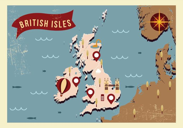 Islas Británicas Mapa Ilustración Vectorial