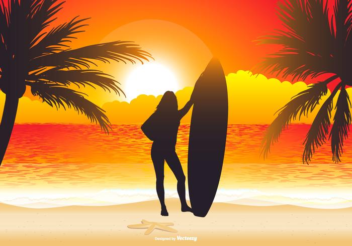 Beautiful Surfer Beach Scene Illustration