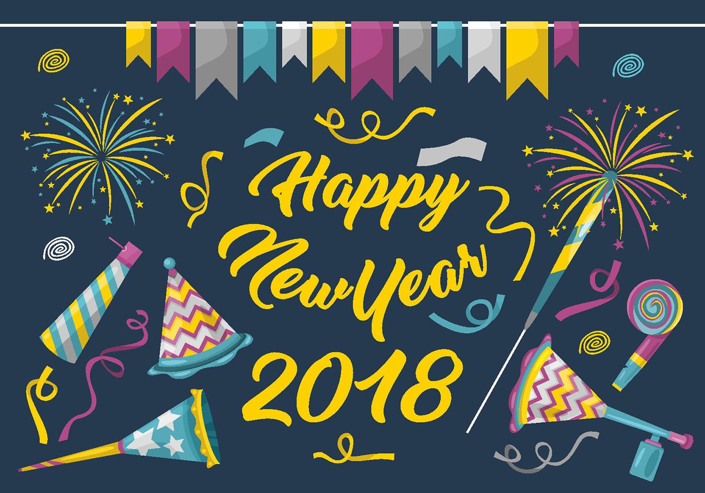 Happy New Year 2018 Vector Set