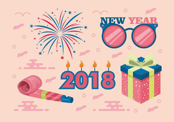 Frohes neues Jahr 2018 Vector Set