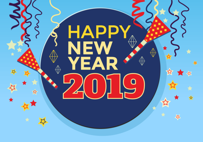 Hy New Year 2018 Greeting Card Template