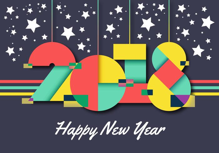 Happy New Year 2018 Vector Illustration