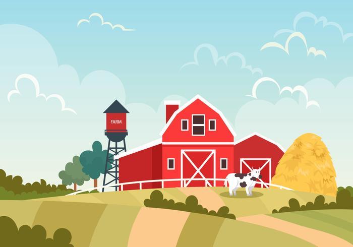 Red Barn On The Farm Vector Scene