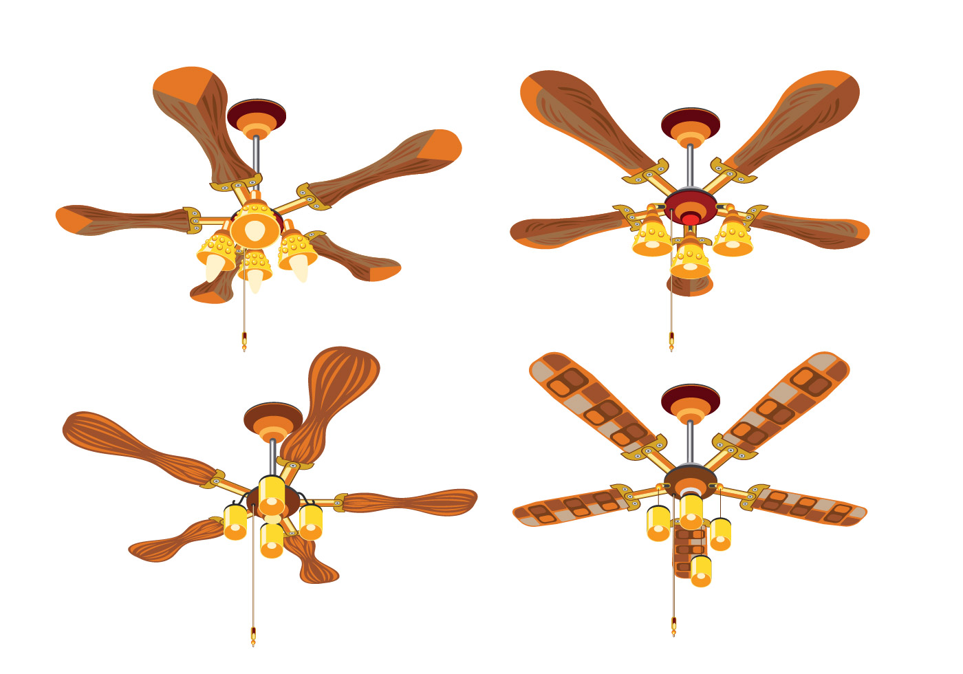 Close Up Set Of Vintage Ceiling Fan With Light