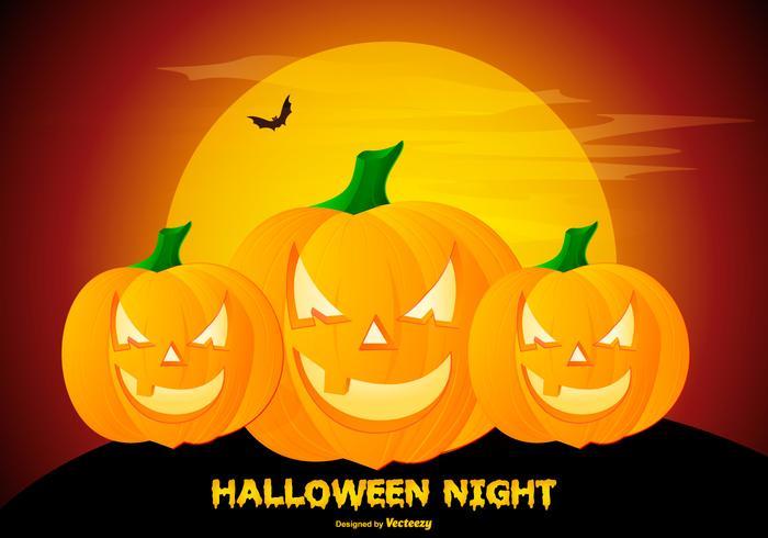Griezelige Halloween Pompoen Achtergrond Illustratie