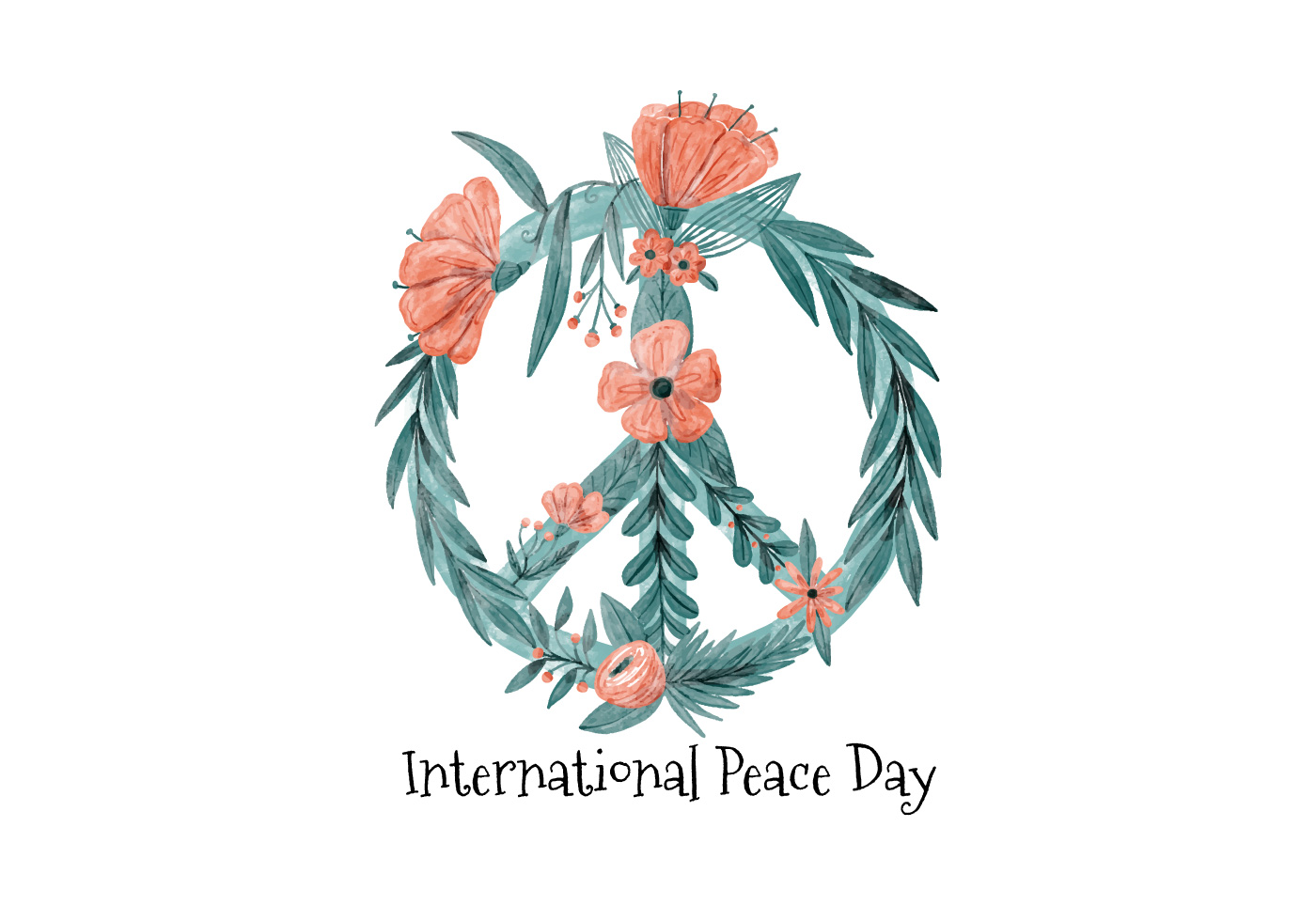 Watercolor Peace Symbol Building With Leaves And Flowers Download
