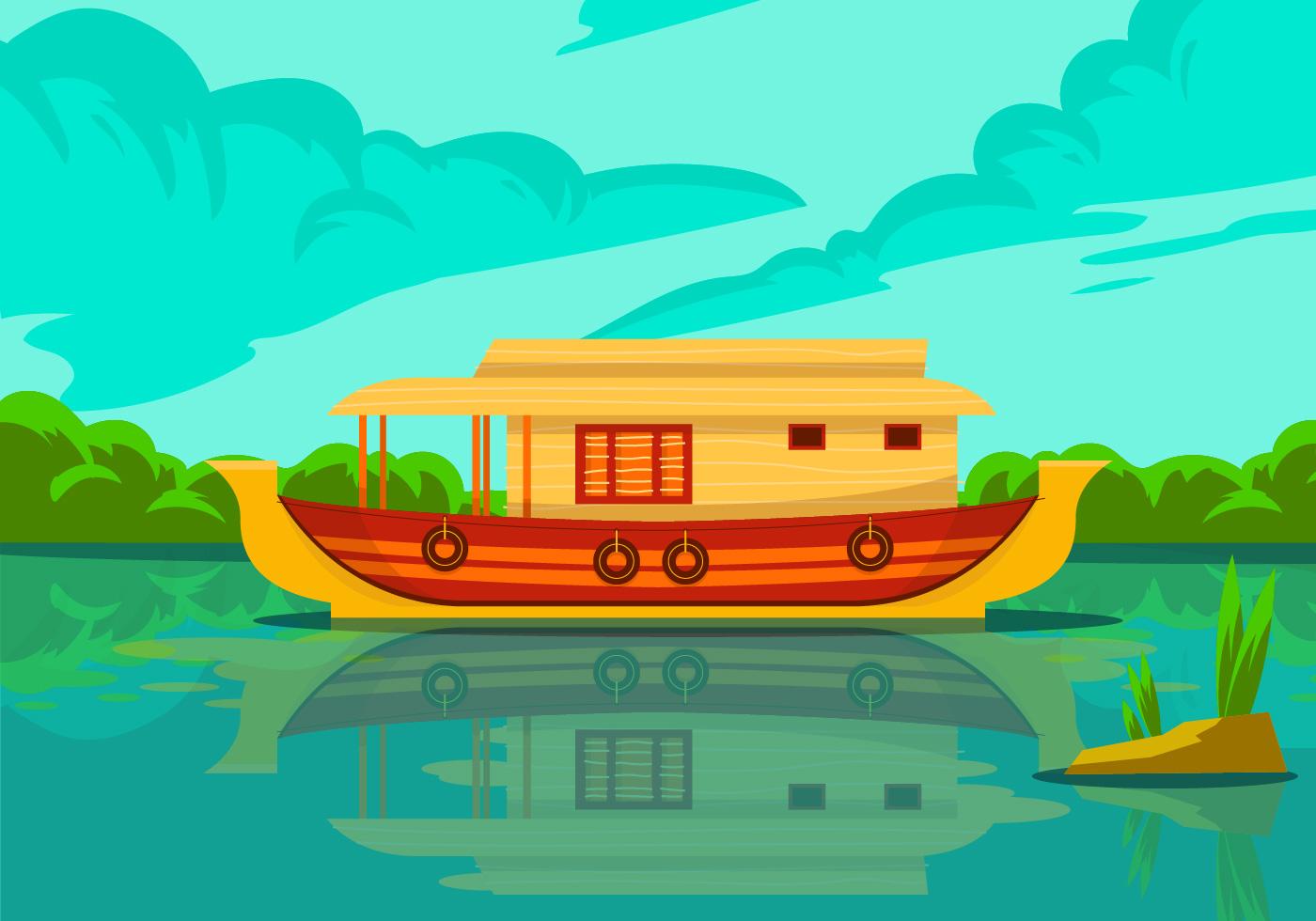 Kerala Hausboot Vektor Hintergrund Illustration - Kostenlose Vektor-Kunst Archiv-Grafiken ...
