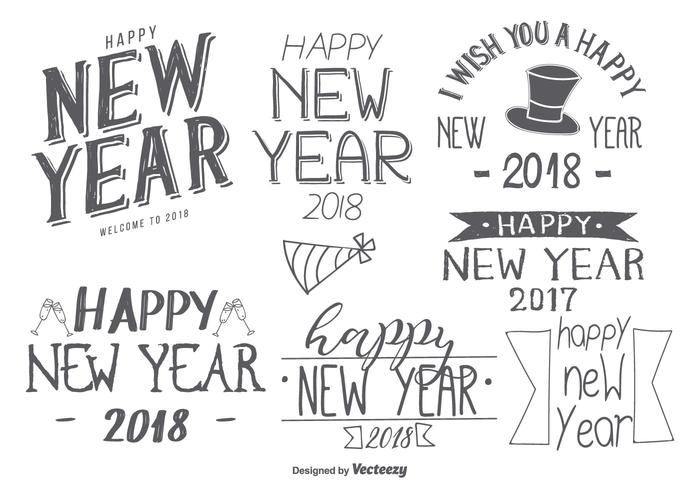 Sketchy Hand Drawn New Year 2018 Labels vector