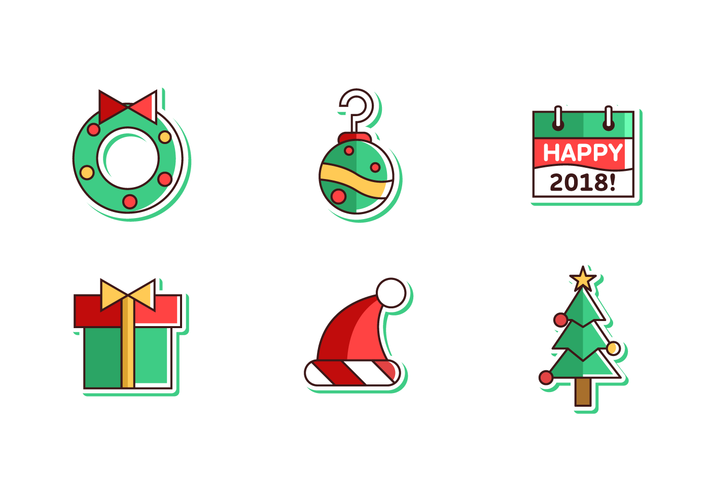 merry christmas and happy new year 2018 free vector pack download free vector art stock graphics images