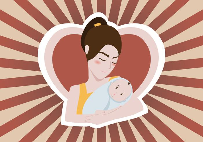 Woman Holding Baby Vector Illustration